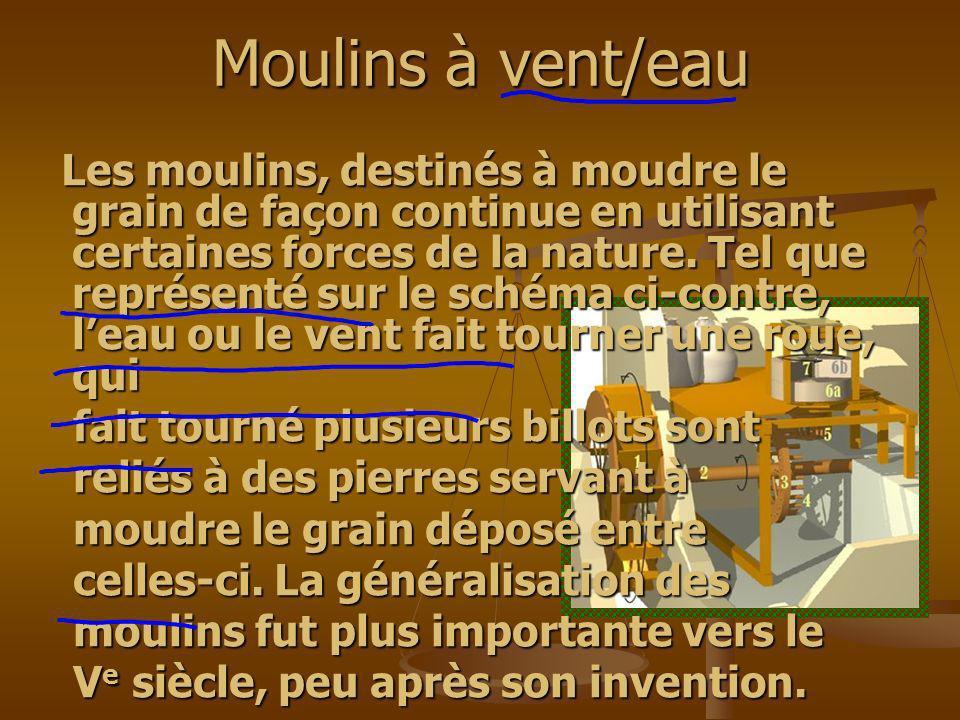 Moulins à vent/eau Les moulins, destinés à moudre le grain de façon continue en utilisant certaines forces de la nature. Tel que représenté sur le sch