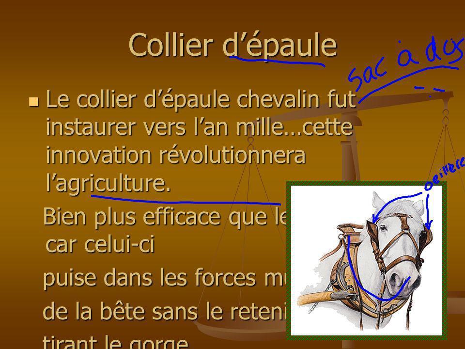 Collier dépaule Le collier dépaule chevalin fut instaurer vers lan mille…cette innovation révolutionnera lagriculture. Le collier dépaule chevalin fut