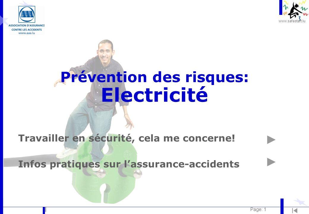 www.safestart.lu Page: 1 Prévention des risques: Electricité Travailler en sécurité, cela me concerne.