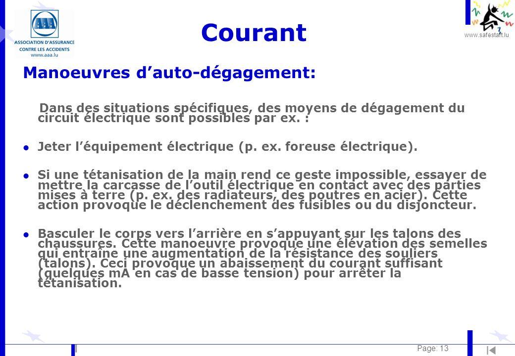 www.safestart.lu Page: 13 Courant Manoeuvres dauto-dégagement: Dans des situations spécifiques, des moyens de dégagement du circuit électrique sont possibles par ex.