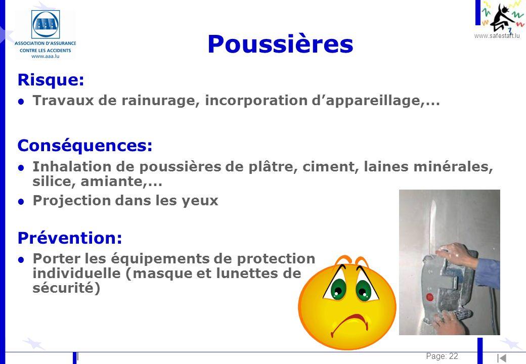 www.safestart.lu Page: 22 Poussières Risque: l Travaux de rainurage, incorporation dappareillage,...