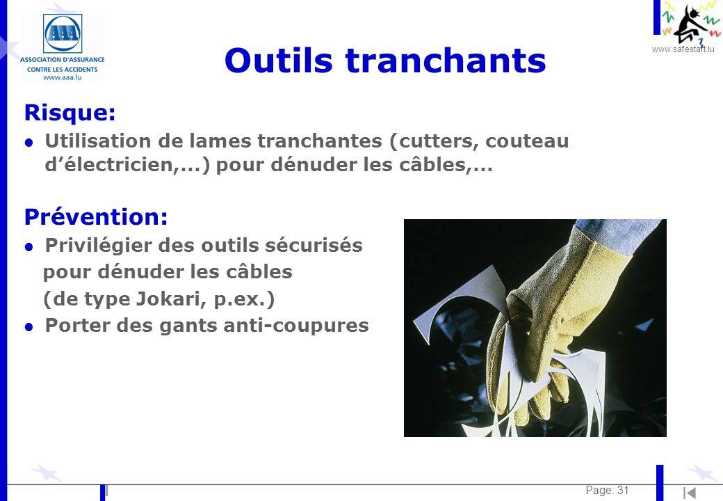 www.safestart.lu Page: 31 Outils tranchants Risque: l Utilisation de lames tranchantes (cutters, couteau délectricien,...) pour dénuder les câbles,...