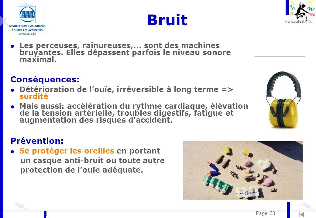 www.safestart.lu Page: 33 Bruit l Les perceuses, rainureuses,...
