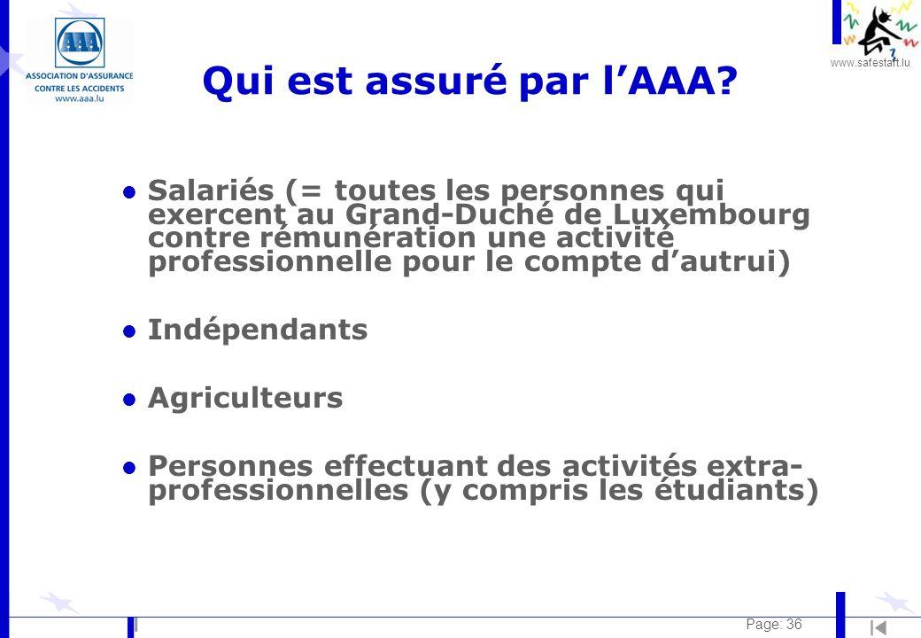 www.safestart.lu Page: 36 Qui est assuré par lAAA.