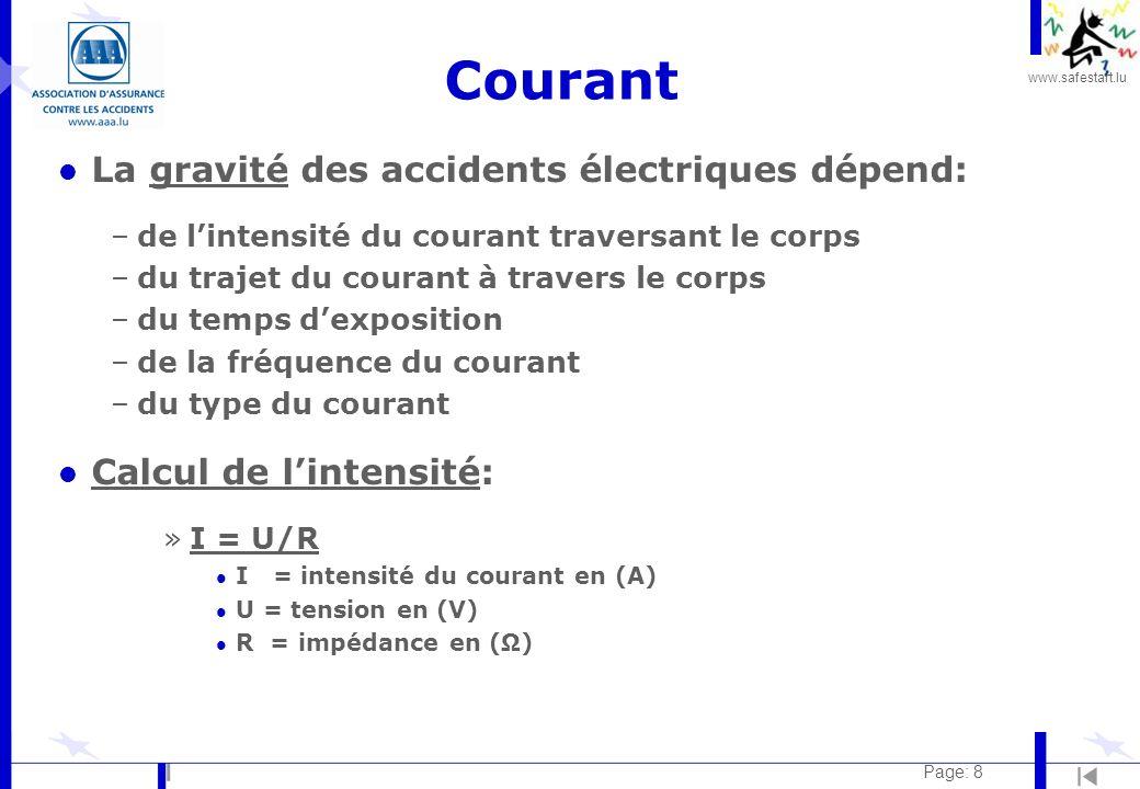 www.safestart.lu Page: 8 Courant l La gravité des accidents électriques dépend: –de lintensité du courant traversant le corps –du trajet du courant à travers le corps –du temps dexposition –de la fréquence du courant –du type du courant l Calcul de lintensité: »I = U/R l I = intensité du courant en (A) l U = tension en (V) l R = impédance en ()
