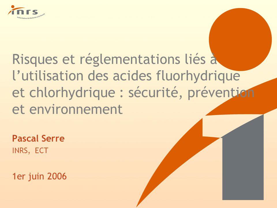 ACIDE CHLORHYDRIQUE REGLEMENTATION (suite) Protection environnement -Installations classées pour la protection de lenvironnement : n° 1610 et n° 1611 (fabrication, emploi ou stockage dacide chlorhydrique) -Arrêté du 2 février 1998 relatif à la protection de lenvironnement ( Chlorure dhydrogène ) : Valeur limite dans lair : 50 mg/m3 (en HCl) pH des effluents compris entre 5,5 et 8,5 (9,5 si neutralisation alcaline)