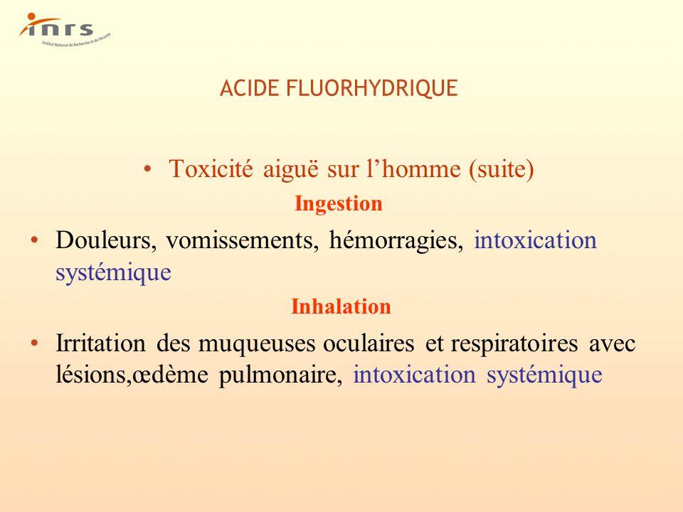ACIDE FLUORHYDRIQUE Toxicité aiguë sur lhomme (suite) Ingestion Douleurs, vomissements, hémorragies, intoxication systémique Inhalation Irritation des