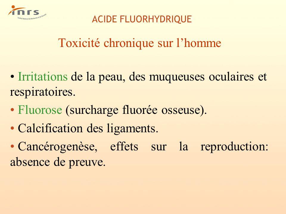 ACIDE FLUORHYDRIQUE Toxicité chronique sur lhomme Irritations de la peau, des muqueuses oculaires et respiratoires. Fluorose (surcharge fluorée osseus