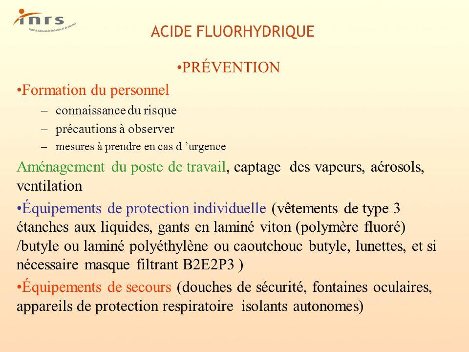 ACIDE FLUORHYDRIQUE PRÉVENTION Formation du personnel –connaissance du risque –précautions à observer –mesures à prendre en cas d urgence Aménagement