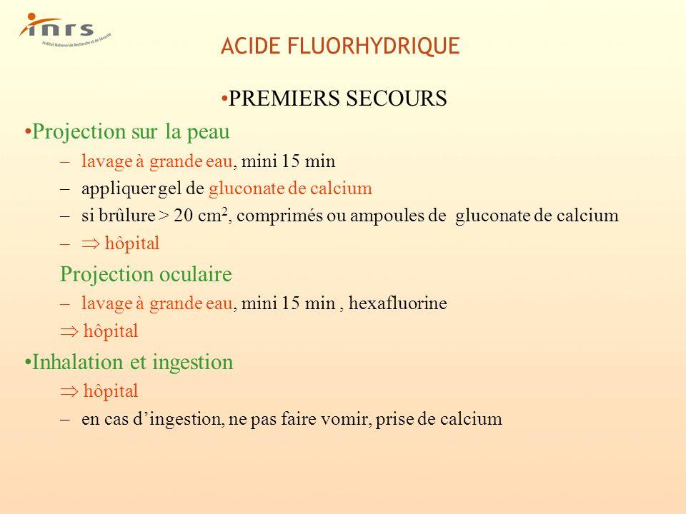 ACIDE FLUORHYDRIQUE PREMIERS SECOURS Projection sur la peau –lavage à grande eau, mini 15 min –appliquer gel de gluconate de calcium –si brûlure > 20