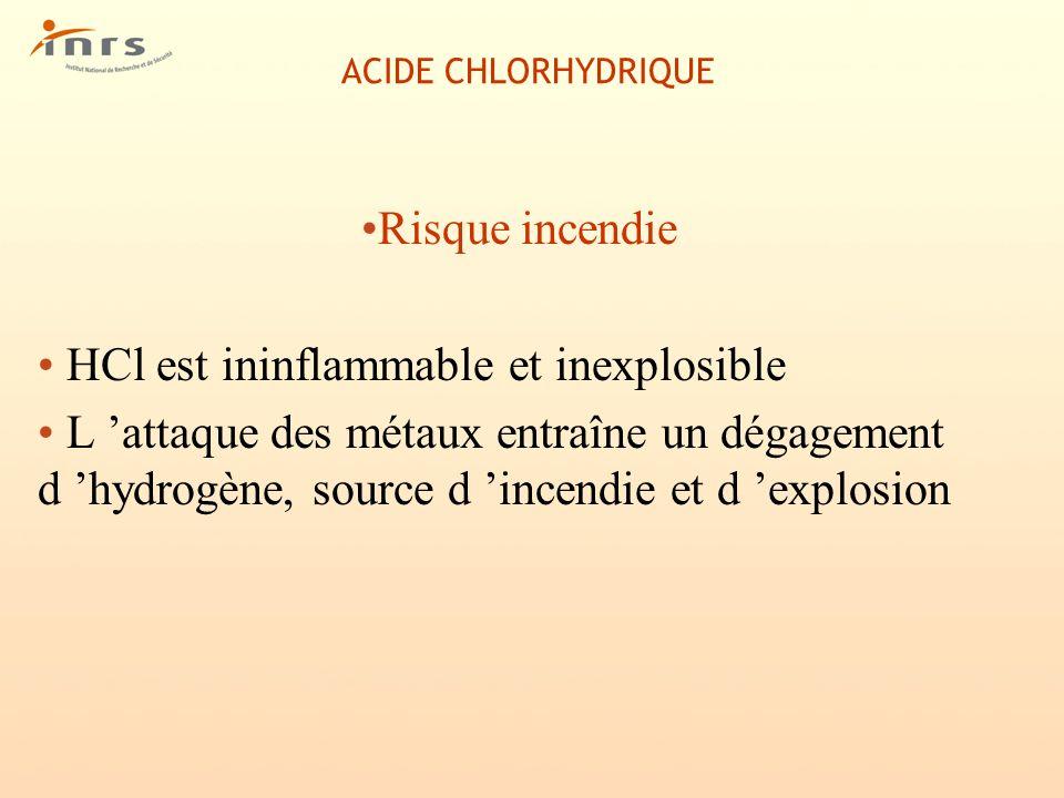 ACIDE CHLORHYDRIQUE Risque incendie HCl est ininflammable et inexplosible L attaque des métaux entraîne un dégagement d hydrogène, source d incendie e