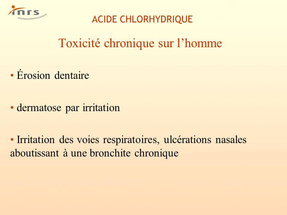 ACIDE CHLORHYDRIQUE Toxicité chronique sur lhomme Érosion dentaire dermatose par irritation Irritation des voies respiratoires, ulcérations nasales ab
