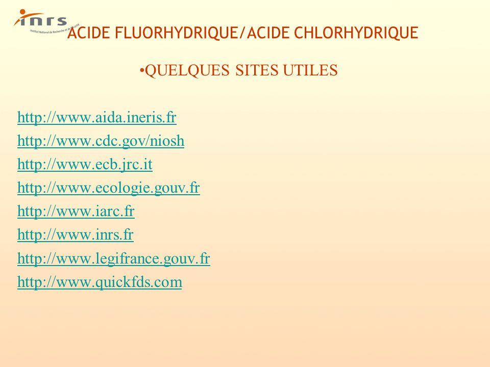 ACIDE FLUORHYDRIQUE/ACIDE CHLORHYDRIQUE QUELQUES SITES UTILES http://www.aida.ineris.fr http://www.cdc.gov/niosh http://www.ecb.jrc.it http://www.ecol
