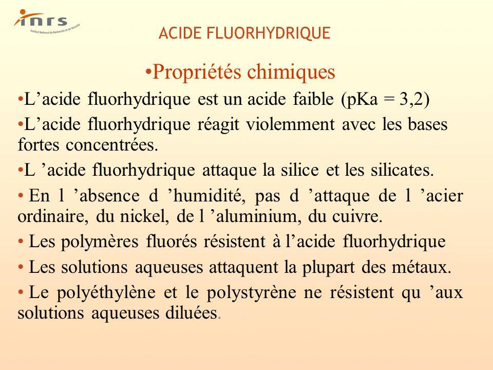 ACIDE FLUORHYDRIQUE Propriétés chimiques Lacide fluorhydrique est un acide faible (pKa = 3,2) Lacide fluorhydrique réagit violemment avec les bases fo