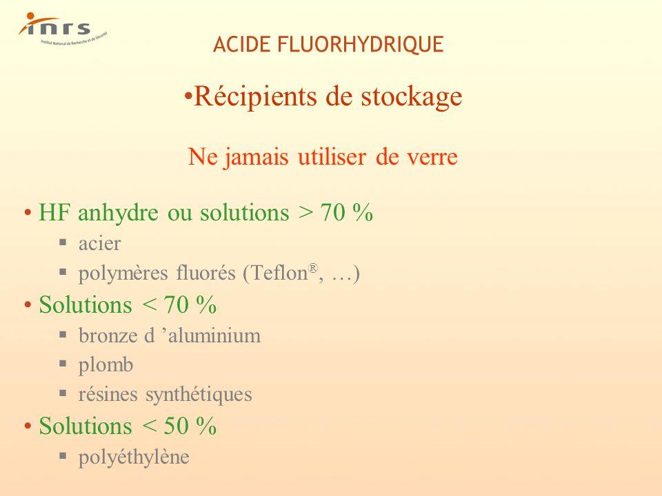 ACIDE FLUORHYDRIQUE REGLEMENTATION (suite) Protection environnement : -Installations classées pour la protection de lenvironnement : n° 1110 et n° 1111 (fabrication, emploi ou stockage de substances ou préparations très toxiques) -Arrêté du 2 février 1998 relatif à la protection de lenvironnement (Fluor et composés inorganiques du fluor) : Valeur limite dans lair : 5 mg/m3 (en HF) Valeur limite dans leau : 15 mg/l (en F)