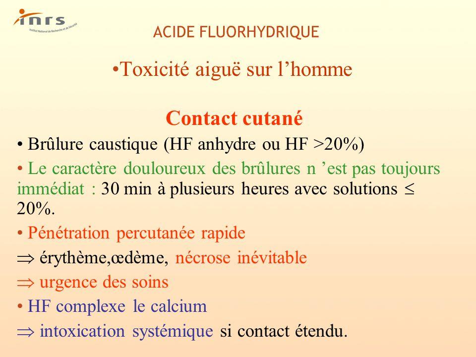 ACIDE FLUORHYDRIQUE Toxicité aiguë sur lhomme Contact cutané Brûlure caustique (HF anhydre ou HF >20%) Le caractère douloureux des brûlures n est pas