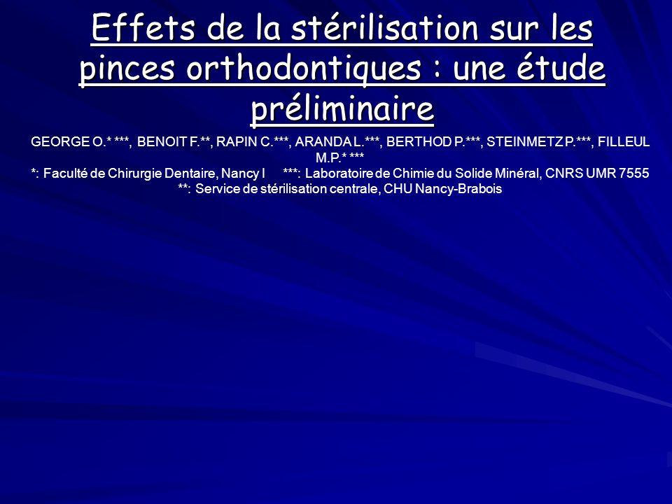 Effets de la stérilisation sur les pinces orthodontiques : une étude préliminaire GEORGE O.* ***, BENOIT F.**, RAPIN C.***, ARANDA L.***, BERTHOD P.**
