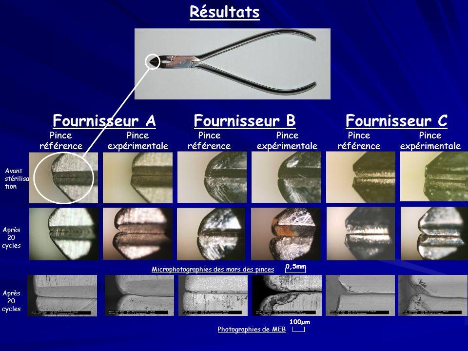 Après 20 cycles Résultats Pince référence Pince expérimentale Pince référence Pince expérimentale Pince référence Photographies de MEB Fournisseur AFo