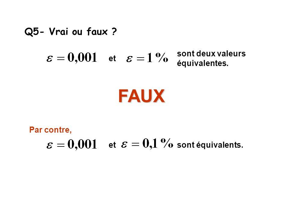 Q5- Vrai ou faux ? et sont deux valeurs équivalentes. FAUX etsont équivalents. Par contre,