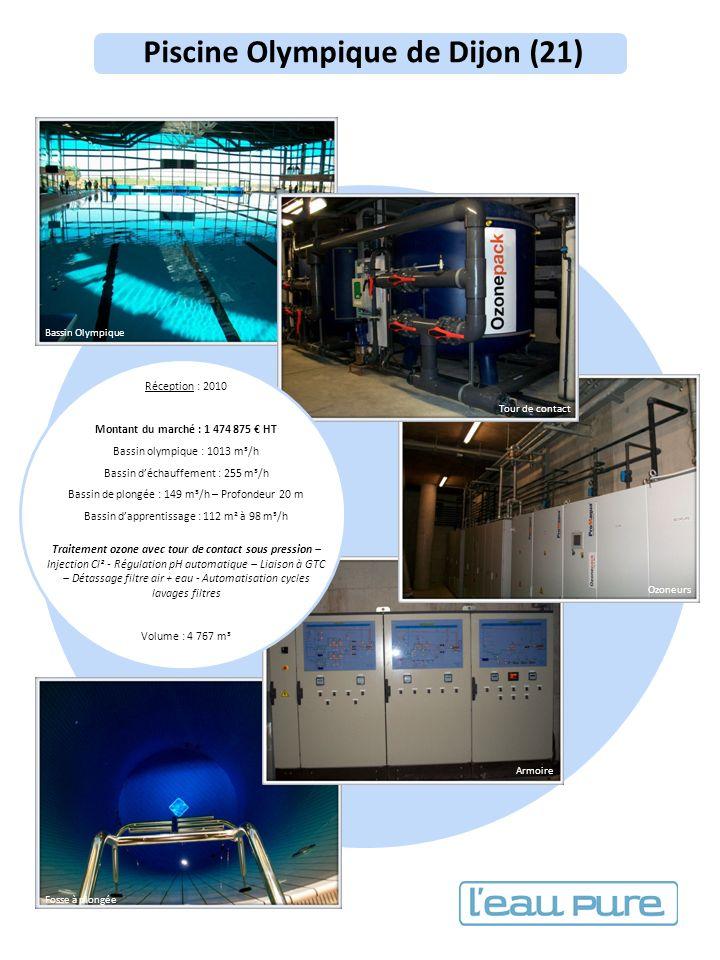 Piscine Olympique de Dijon (21) Réception : 2010 Montant du marché : 1 474 875 HT Bassin olympique : 1013 m³/h Bassin déchauffement : 255 m³/h Bassin