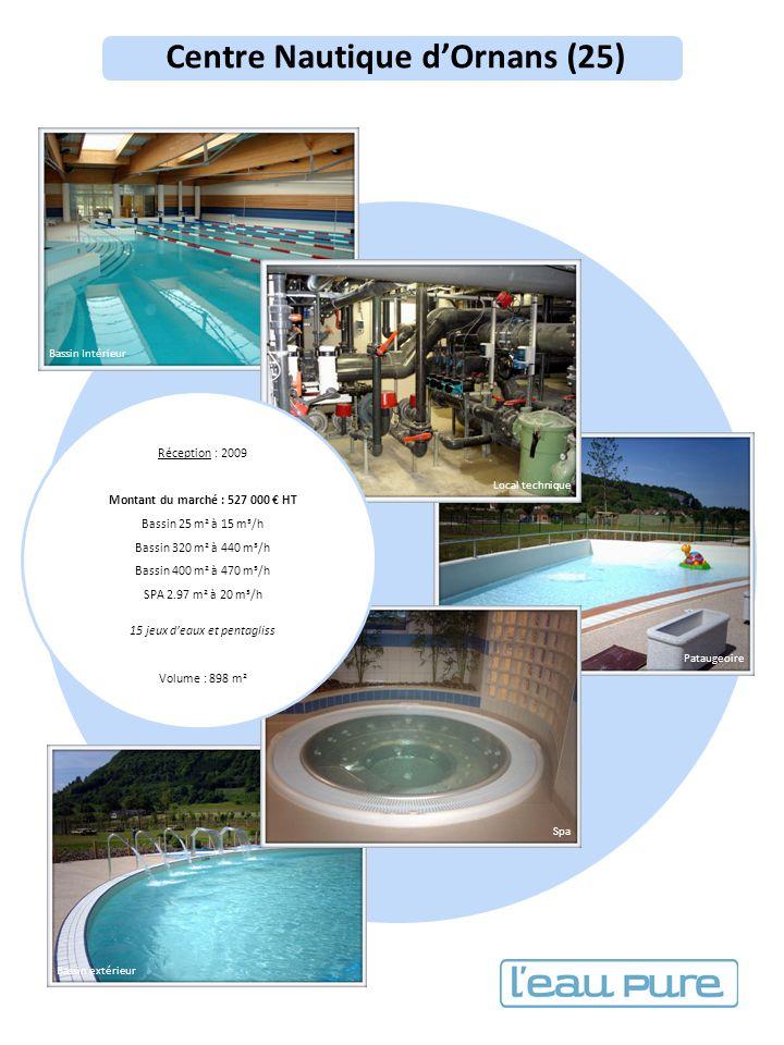 Centre Nautique dOrnans (25) Réception : 2009 Montant du marché : 527 000 HT Bassin 25 m² à 15 m³/h Bassin 320 m² à 440 m³/h Bassin 400 m² à 470 m³/h