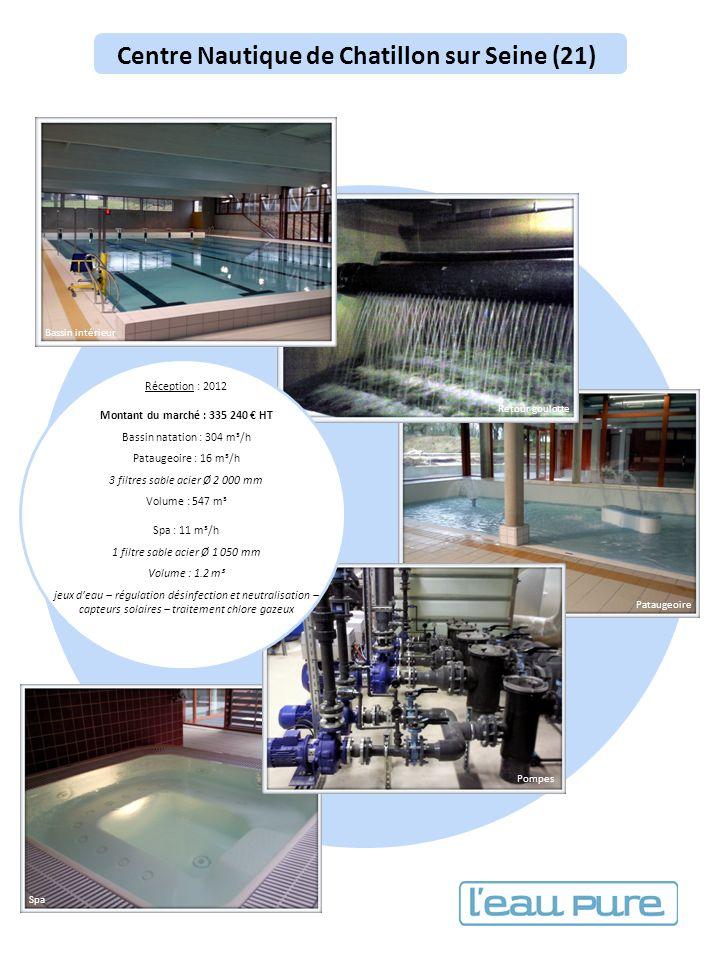 Centre Nautique de Chatillon sur Seine (21) Réception : 2012 Montant du marché : 335 240 HT Bassin natation : 304 m³/h Pataugeoire : 16 m³/h 3 filtres