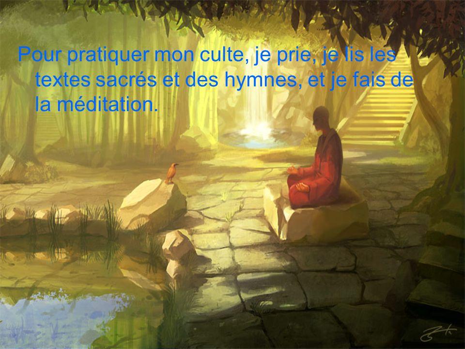 Pour pratiquer mon culte, je prie, je lis les textes sacrés et des hymnes, et je fais de la méditation.