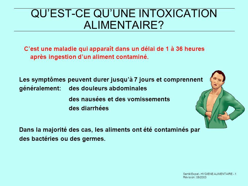 Santé Expat - HYGIENE ALIMENTAIRE - 2 Révision : 05/2003 LES CAUSES DES INTOXICATIONS ALIMENTAIRES CAUSES DORIGINE BIOLOGIQUE 1- Des bactéries (germes) ou leurs toxines - choléra, typhoïde, etc.