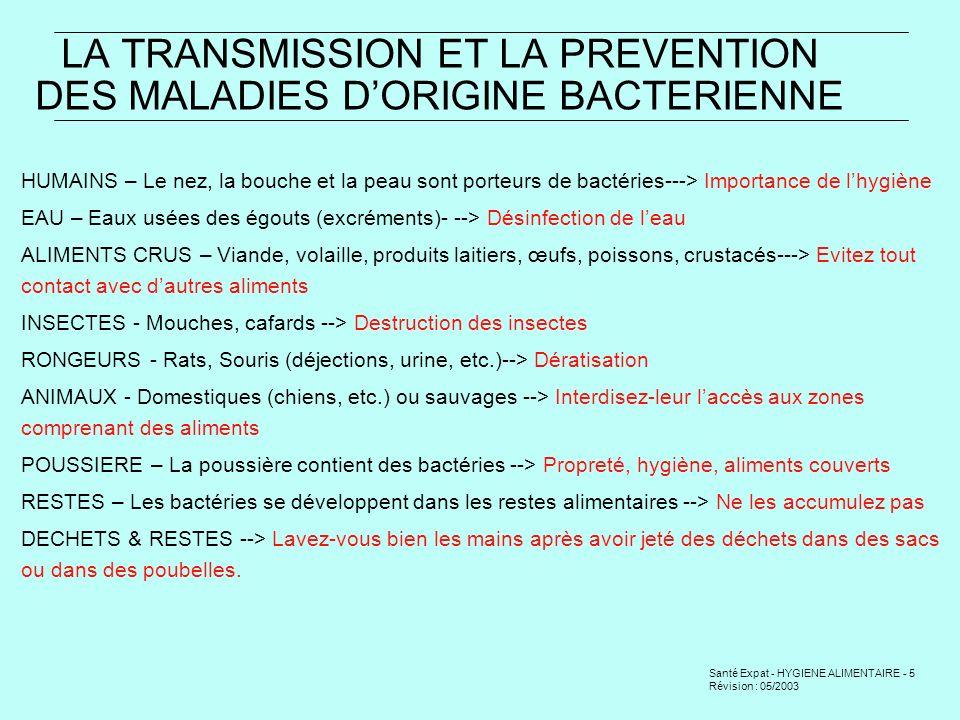 Santé Expat - HYGIENE ALIMENTAIRE - 6 Révision : 05/2003 COMMENT LES BACTERIES PROLIFERENT-ELLES.