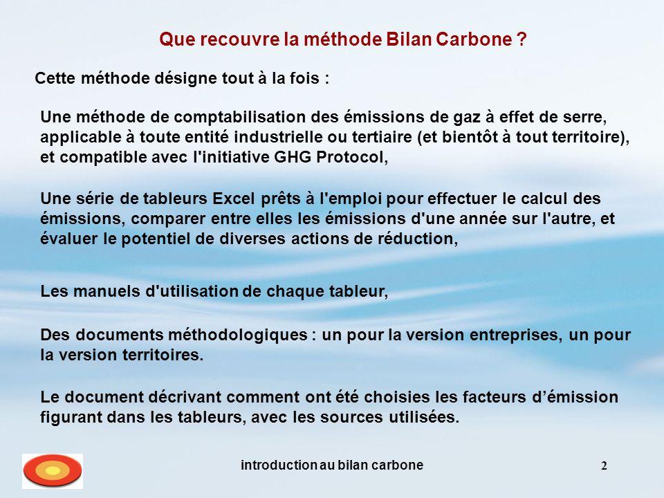 introduction au bilan carbone2 Que recouvre la méthode Bilan Carbone .