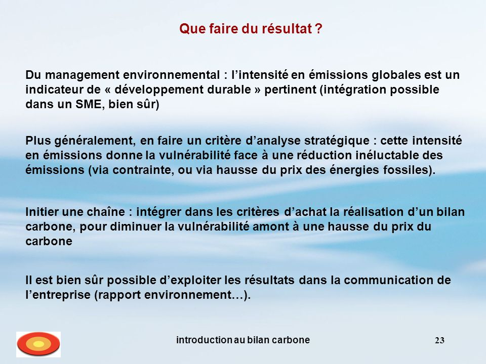 introduction au bilan carbone23 Que faire du résultat .
