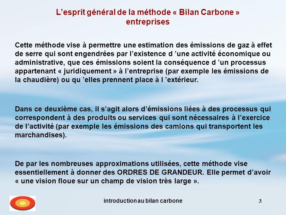 introduction au bilan carbone3 Lesprit général de la méthode « Bilan Carbone » entreprises Dans ce deuxième cas, il sagit alors démissions liées à des processus qui correspondent à des produits ou services qui sont nécessaires à lexercice de lactivité (par exemple les émissions des camions qui transportent les marchandises).
