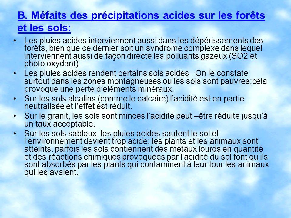 B. Méfaits des précipitations acides sur les forêts et les sols: Les pluies acides interviennent aussi dans les dépérissements des forêts, bien que ce