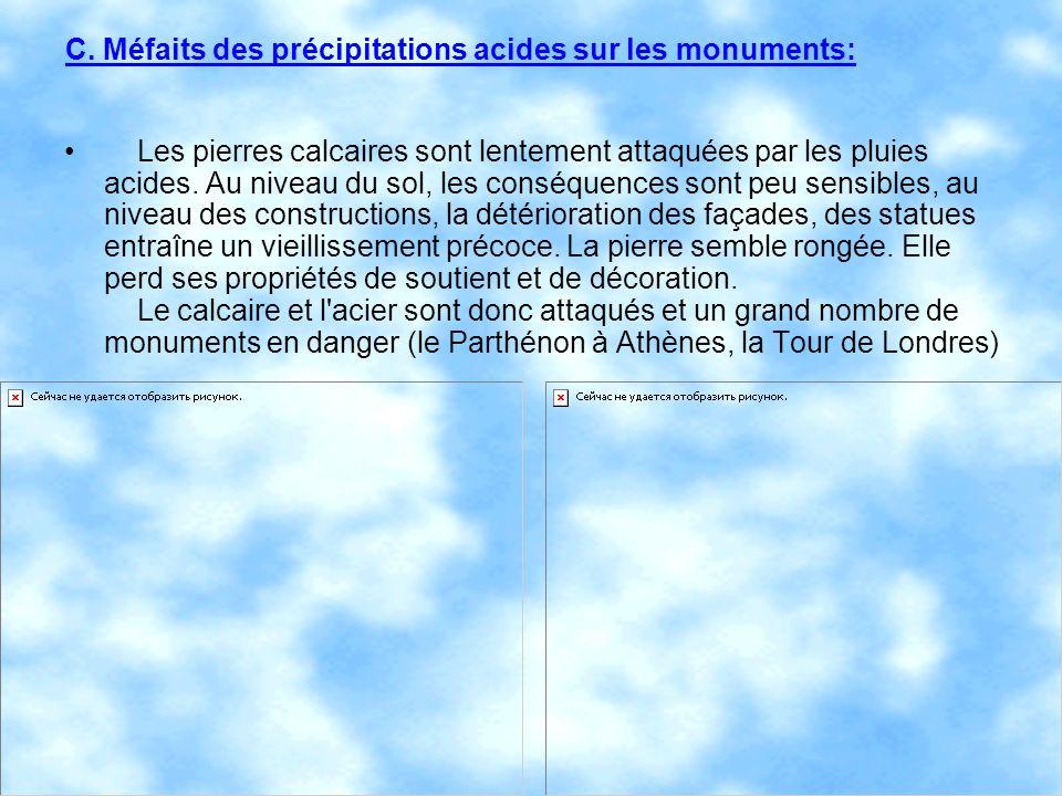 C. Méfaits des précipitations acides sur les monuments: Les pierres calcaires sont lentement attaquées par les pluies acides. Au niveau du sol, les co