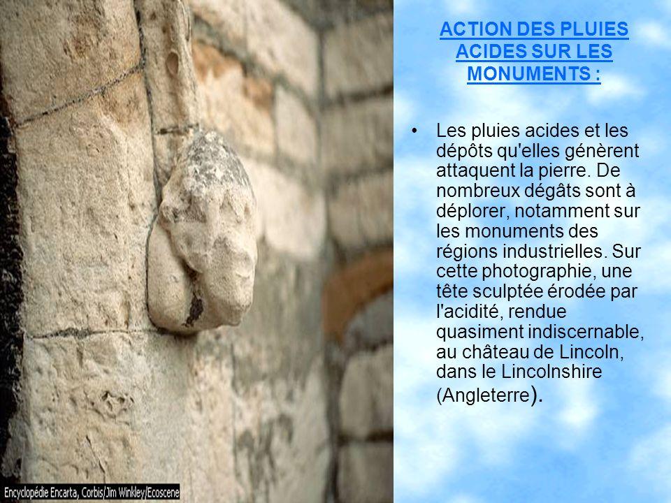 ACTION DES PLUIES ACIDES SUR LES MONUMENTS : Les pluies acides et les dépôts qu'elles génèrent attaquent la pierre. De nombreux dégâts sont à déplorer