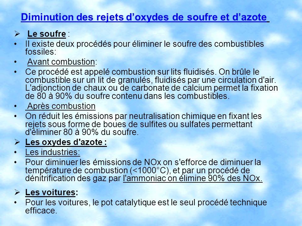 Diminution des rejets doxydes de soufre et dazote Le soufre : Il existe deux procédés pour éliminer le soufre des combustibles fossiles: Avant combust