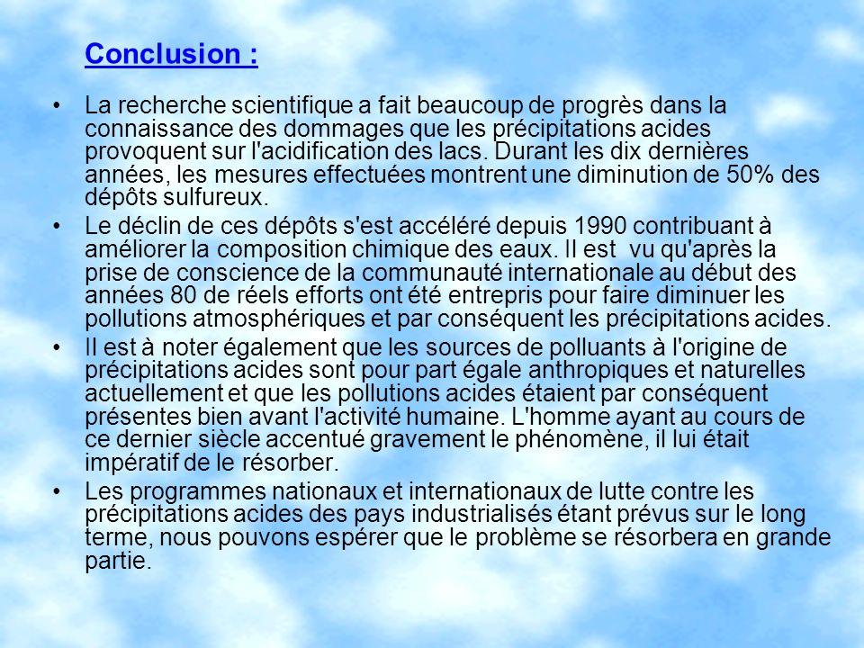 Conclusion : La recherche scientifique a fait beaucoup de progrès dans la connaissance des dommages que les précipitations acides provoquent sur l'aci