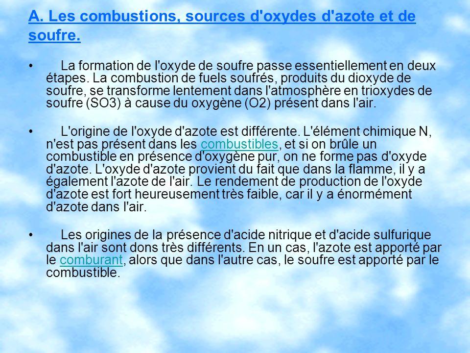A. Les combustions, sources d'oxydes d'azote et de soufre. La formation de l'oxyde de soufre passe essentiellement en deux étapes. La combustion de fu