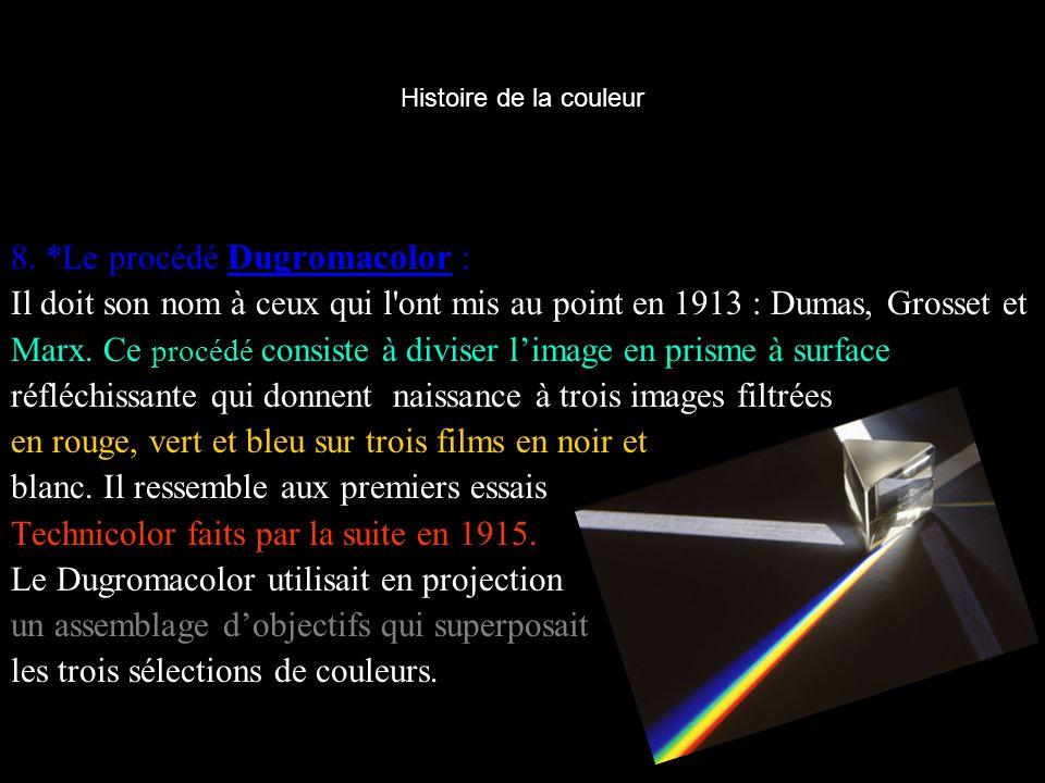 Histoire de la couleur 8. *Le procédé Dugromacolor : Il doit son nom à ceux qui l'ont mis au point en 1913 : Dumas, Grosset et Marx. Ce procédé consis
