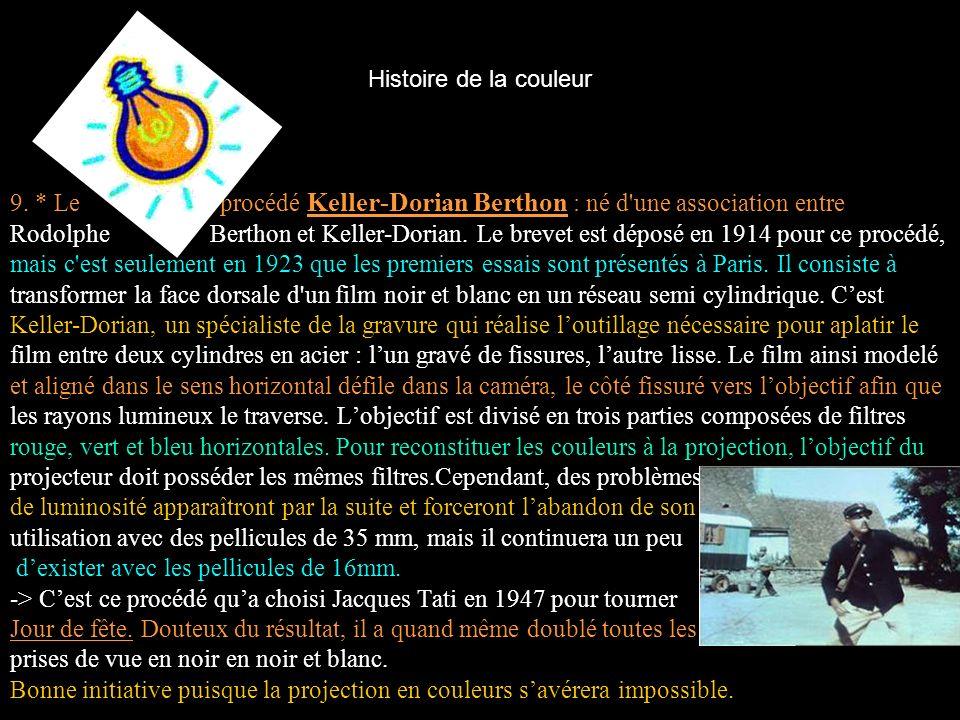 Histoire de la couleur 9. * Le procédé Keller-Dorian Berthon : né d'une association entre Rodolphe Berthon et Keller-Dorian. Le brevet est déposé en 1