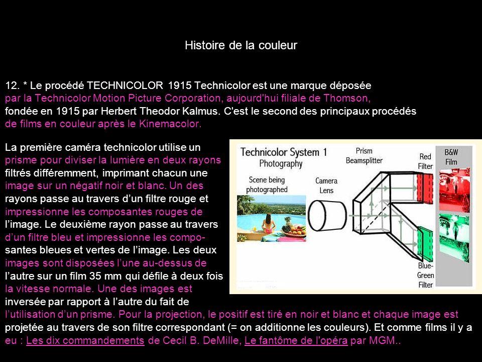 Histoire de la couleur 12. * Le procédé TECHNICOLOR 1915 Technicolor est une marque déposée par la Technicolor Motion Picture Corporation, aujourd'hui