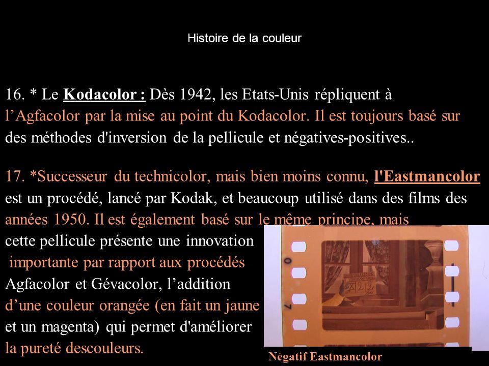 Histoire de la couleur 16. * Le Kodacolor : Dès 1942, les Etats-Unis répliquent à lAgfacolor par la mise au point du Kodacolor. Il est toujours basé s