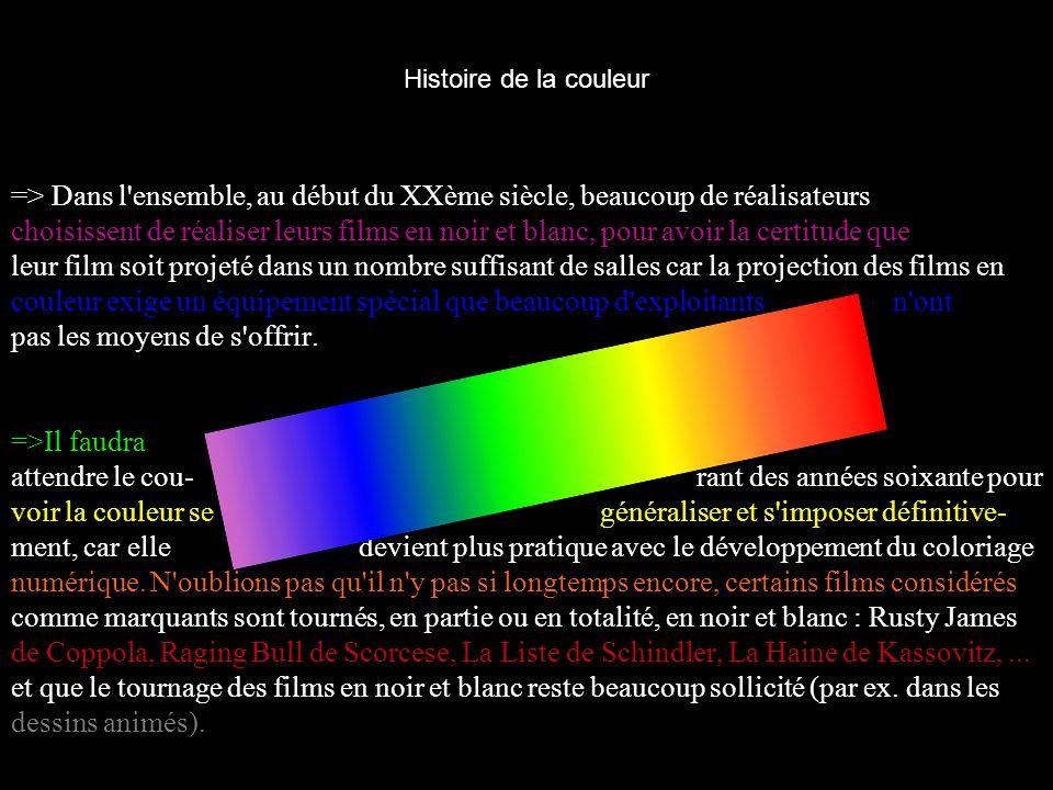 Histoire de la couleur => Dans l'ensemble, au début du XXème siècle, beaucoup de réalisateurs choisissent de réaliser leurs films en noir et blanc, po