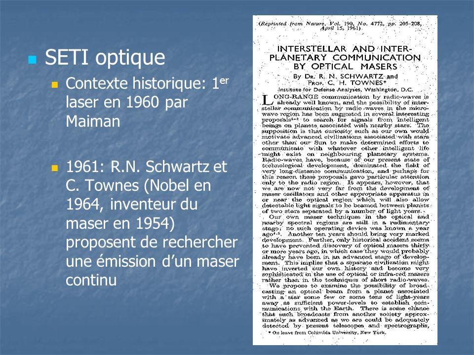 SETI optique Contexte historique: 1 er laser en 1960 par Maiman 1961: R.N.