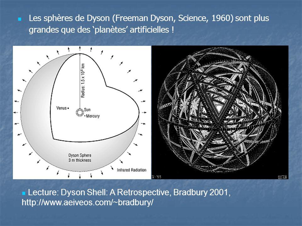 Les sphères de Dyson (Freeman Dyson, Science, 1960) sont plus grandes que des planètes artificielles .
