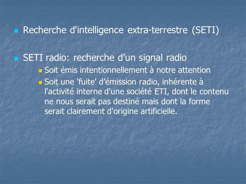 Recherche d intelligence extra-terrestre (SETI) SETI radio: recherche dun signal radio Soit émis intentionnellement à notre attention Soit une fuite démission radio, inhérente à l activité interne d une société ETI, dont le contenu ne nous serait pas destiné mais dont la forme serait clairement d origine artificielle.
