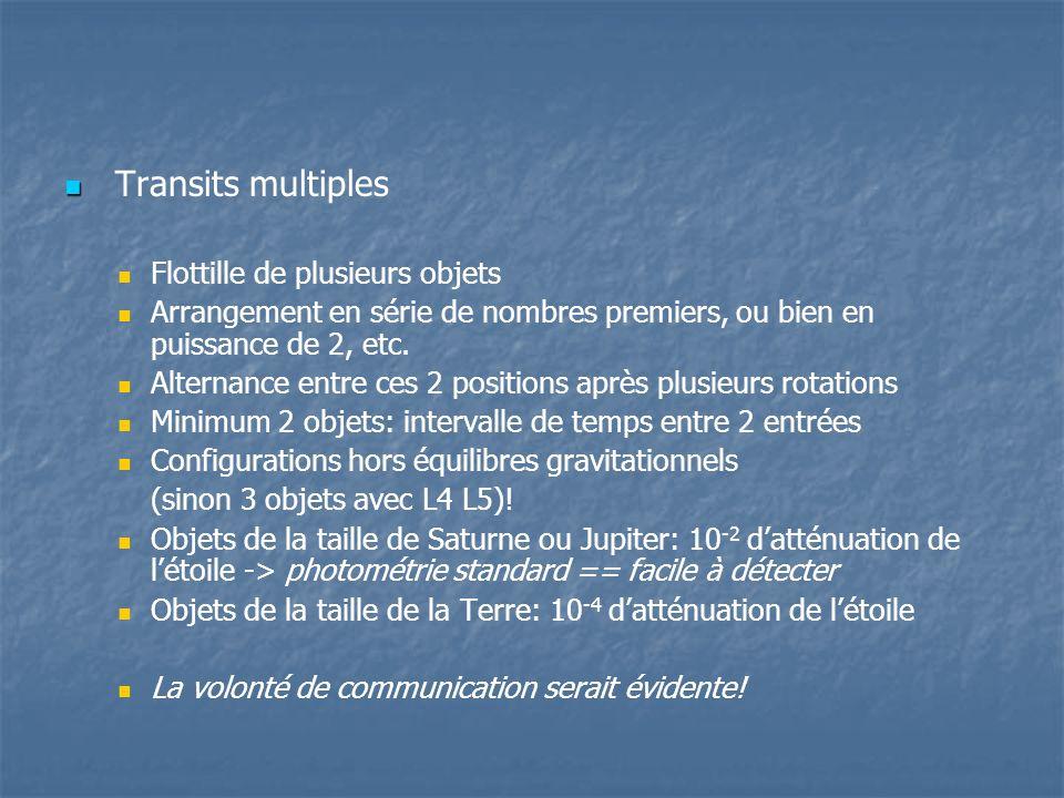 Transits multiples Flottille de plusieurs objets Arrangement en série de nombres premiers, ou bien en puissance de 2, etc.