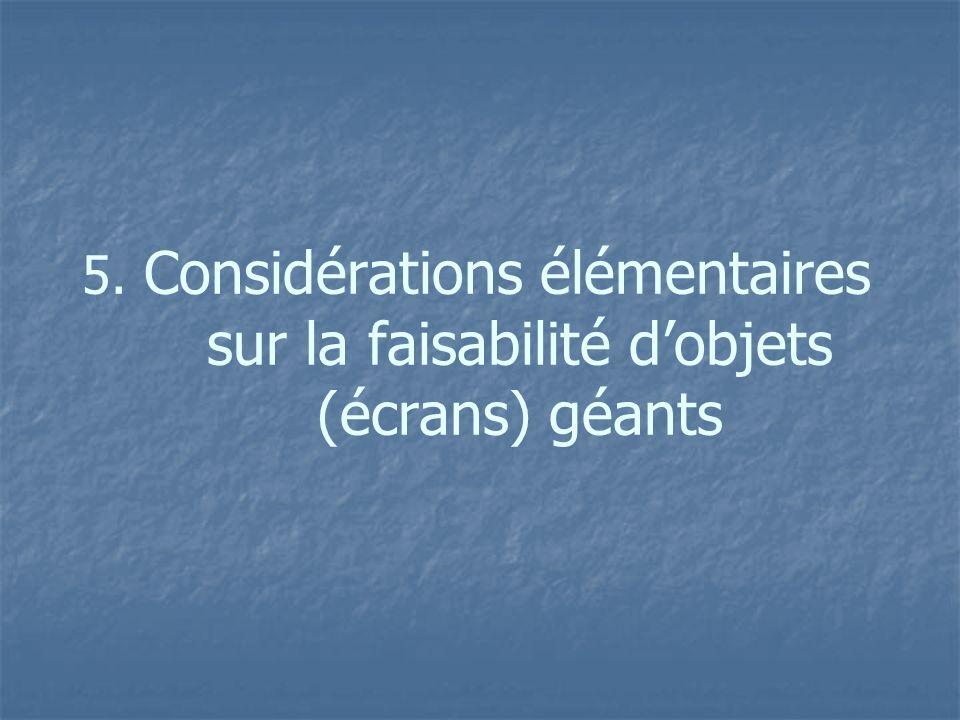5. Considérations élémentaires sur la faisabilité dobjets (écrans) géants