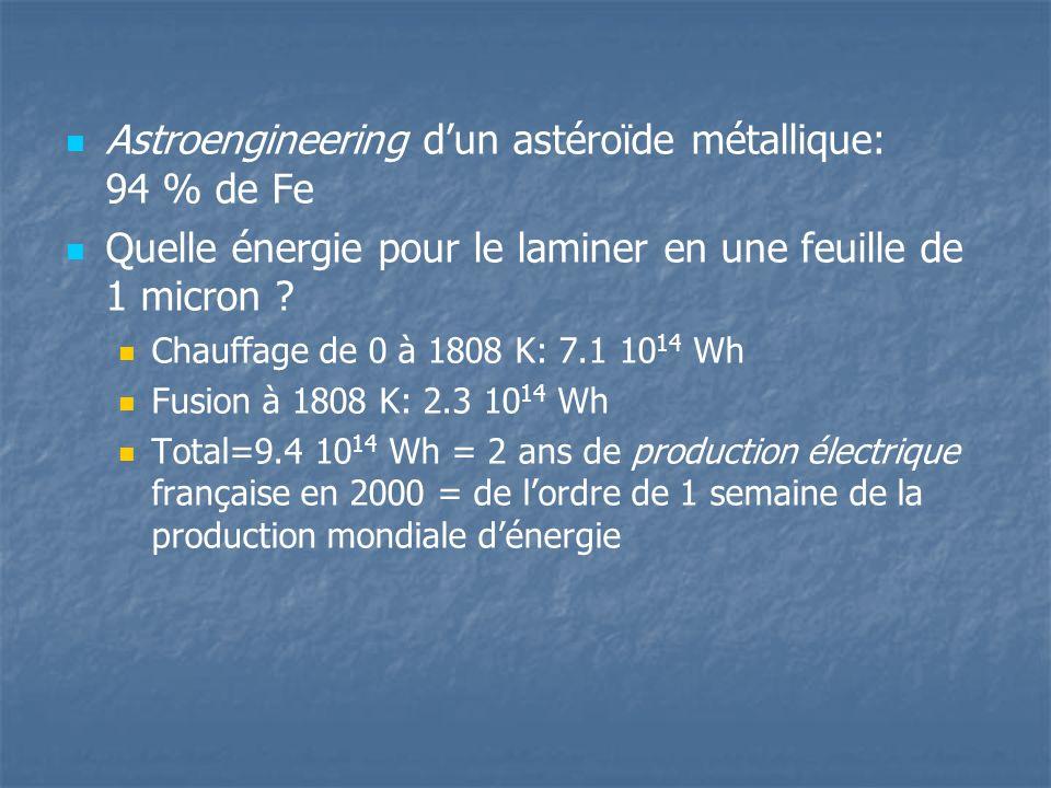 Astroengineering dun astéroïde métallique: 94 % de Fe Quelle énergie pour le laminer en une feuille de 1 micron .