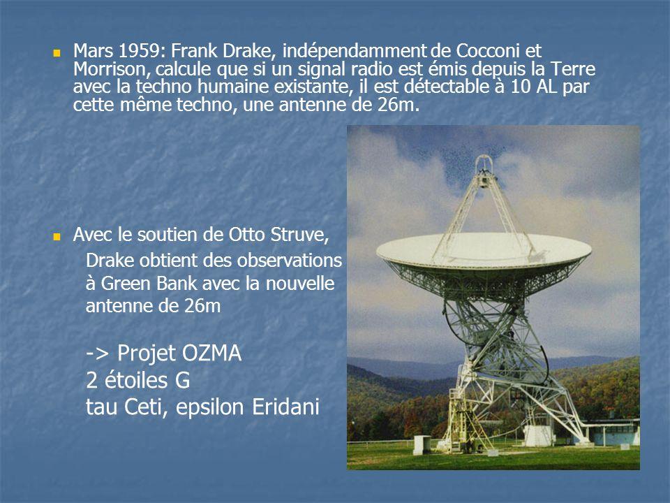 Mars 1959: Frank Drake, indépendamment de Cocconi et Morrison, calcule que si un signal radio est émis depuis la Terre avec la techno humaine existante, il est détectable à 10 AL par cette même techno, une antenne de 26m.